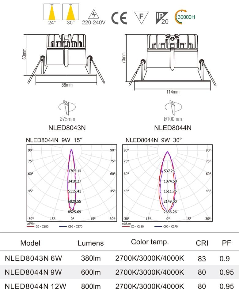 NLED8043N 6W, NLED8044N 9W 12W - Đèn rọi âm trần SMD mặt lõm sâu, chiếu thẳng, mặt và tản nhiệt bằng nhôm đúc