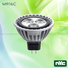 MR16C 6W - Bóng nón LED chân cắm G5.3, điện áp 12V, thân nhôm đúc anodized cao cấp, mắt vân chống chói, góc chiếu 25°, tương thích DIM
