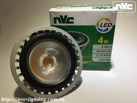 MR16B - Bóng nón LED/Bóng chén LED COB chân cắm G5.3 12V, thân nhôm đúc anodized cao cấp, mắt vân chống chói, góc chiếu 25°