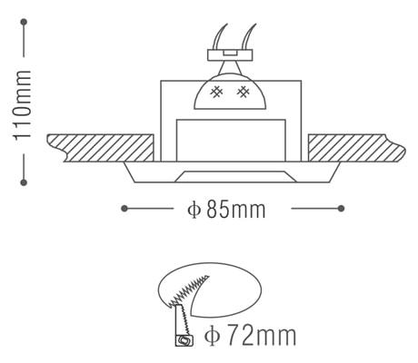 NDL802 - Đèn âm trần module chống ẩm, nhôm đúc, zoăng cao su kín nước, bóng ẩn cách mặt đèn chống chói, chống nhiệt