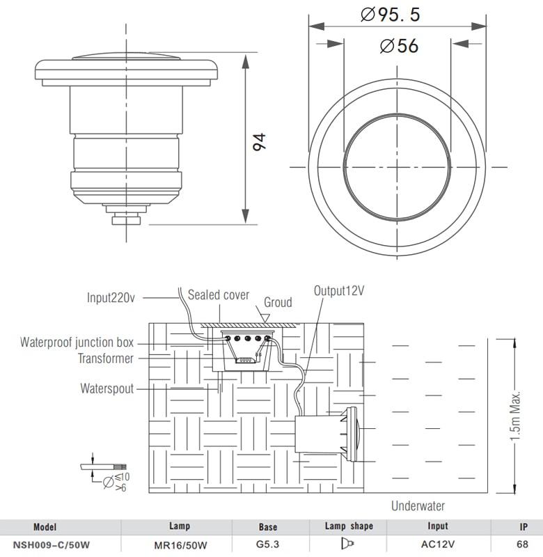 NSH009 - Đèn LED âm nước, lắp bể bơi max 1.5m, thân inox 316, kính cường lực, bóng rời MR16
