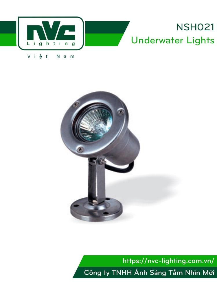 NSH021 - Đèn LED âm nước rọi chỉnh hướng max 1.5m, thân inox 316, kính cường lực, bóng rời MR16