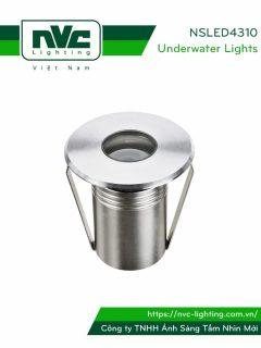NSLED4310 - Đèn LED âm nước thân inox 316, kính cường lực 7mm, đệm cao su EDPM kín nước, chip Osram, IP68