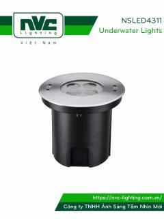 NSLED4311 - Đèn âm nước thân inox 316, kính cường lực 7mm chịu lực max 1693kg Ø60mm , đệm cao su EDPM kín nước, chip Osram, IP68