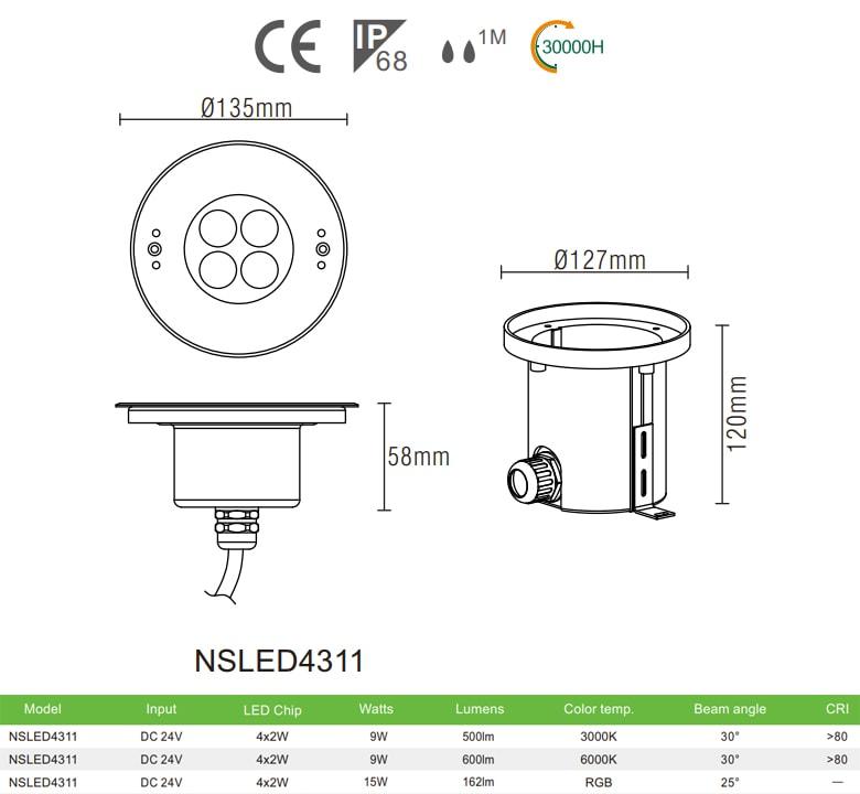 Đèn LED âm nước NSLED4311 9W 15W thân inox 316, kính cường lực 7mm chịu lực max 1693kg Ø60mm , đệm cao su EDPM kín nước, chip Osram, IP68