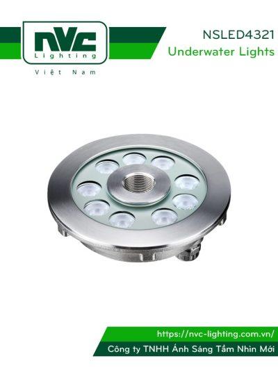 NSLED4321 - Đèn LED âm nước bánh xe, thân inox 316, kính cường lực 8mm, đệm cao su EDPM kín nước, chip Osram, IP68