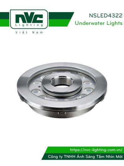 NSLED4322 - Đèn LED âm nước bánh xe, thân inox 316, kính cường lực 8mm, đệm cao su EDPM kín nước, chip Osram, IP68