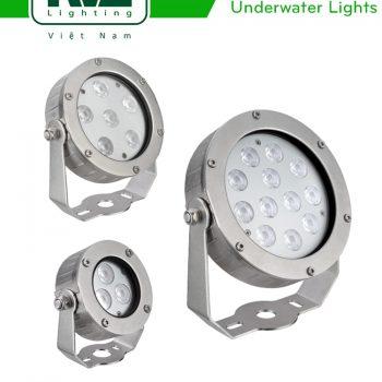 NSLED4331 6W 7.5W, NSLED4332 12.5W 17W, NSLED4333 25W 36W - Đèn LED âm nước 24V, IP68, thân inox 316, kính cường lực 5mm