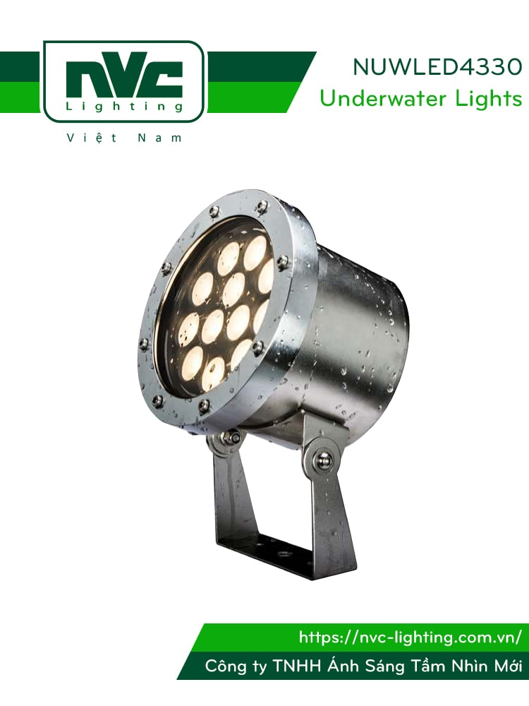 NUWLED4330 6W 10W 18W 22W 36W - Đèn LED âm nước nguyên khối lắp bể bơi sâu tối đa 1m, đài phun nước, thân inox 316 cao cấp chống gỉ, lens PC, mặt kính cường lực dày 5mm, IP68