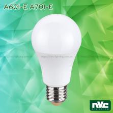 A60I-E 4W 6W 8W 10W, A70I-E 12W 14W - Bóng đèn LED bulb 180° đui xoáy E27, độ sáng vượt trội 100lm/W, chóa nhựa chống vỡ, tản nhiệt nhôm đúc trong thân bóng, điện áp 110V-240V