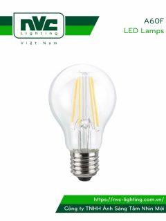 A60F 4W 5W 7W - Bóng đèn LED bulb sợi tóc 360°, đui xoáy E27, chóa nhựa chống vỡ, tản nhiệt nhôm đúc trong thân bóng 110V-240V