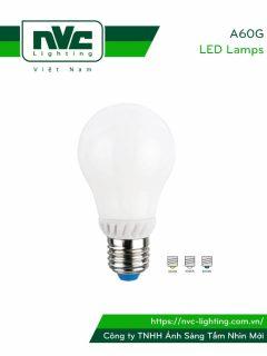 A60G - Bóng đèn LED bulb 360° đui xoáy E27, chóa nhựa chống vỡ, tản nhiệt nhôm đúc trong thân bóng, 110V-240V