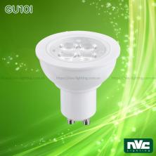 GU10I 3W 4W 6W, GU10I DIM 6W - Bóng chén LED chân tacte điện áp 220V, vỏ polycarbonate, tản nhiệt nhôm đúc trong thân bóng, mắt vân chống chói, góc chiếu 24° 38°
