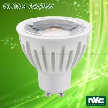 GU10M 6W 8W 10W - Bóng nón LED chân tacte chip COB, điện áp 220V, vỏ polycarbonate màu nhôm, tản nhiệt nhôm đúc trong thân bóng, mắt vân chống chói, góc chiếu 24° 38°