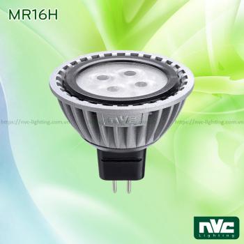 MR16H 5W - Bóng nón LED chân cắm G5.3 điện áp 12V, thân nhôm đúc anodized cao cấp, mắt vân chống chói, góc chiếu 25°