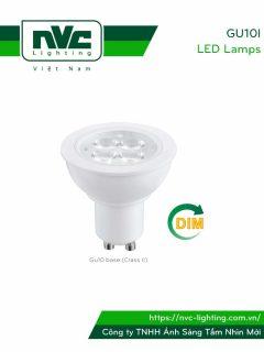 GU10I 4W-6W, GU10ID DIM 6W - Bóng nón LED/Bóng chén LED chân tacte 220V vỏ polycarbonate, tản nhiệt nhôm đúc trong thân bóng, mắt vân chống chói, góc chiếu 24°/38°