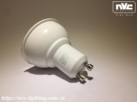 GU10I - Bóng nón LED/Bóng chén LED chân tacte 220V vỏ polycarbonate, tản nhiệt nhôm đúc trong thân bóng, mắt vân chống chói, góc chiếu 24°/38°