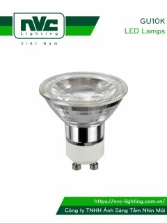 GU10K 5W - Bóng nón LED/Bóng chén LED chân tacte COB 220V, thân kính tản nhiệt, mắt vân chống chói, góc chiếu 25°/36°