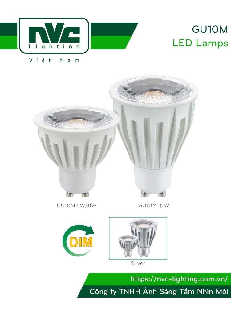 GU10M 8W-10W - Bóng nón LED/Bóng chén LED chân tacte COB 220V, vỏ polycarbonate màu nhôm, tản nhiệt nhôm đúc trong thân bóng, mắt vân chống chói, góc chiếu 24°/38°