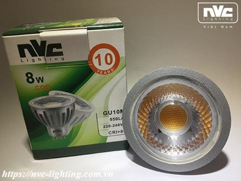 GU10M - Bóng nón LED/Bóng chén LED chân tacte COB 220V, vỏ polycarbonate màu nhôm, tản nhiệt nhôm đúc trong thân bóng, mắt vân chống chói, góc chiếu 24°/38°