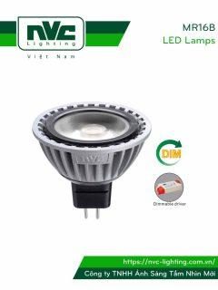 MR16B 4W, MR16B-DIM 4W - Bóng nón LED/Bóng chén LED COB chân cắm G5.3 12V, thân nhôm đúc anodized cao cấp, mắt vân chống chói, góc chiếu 25°