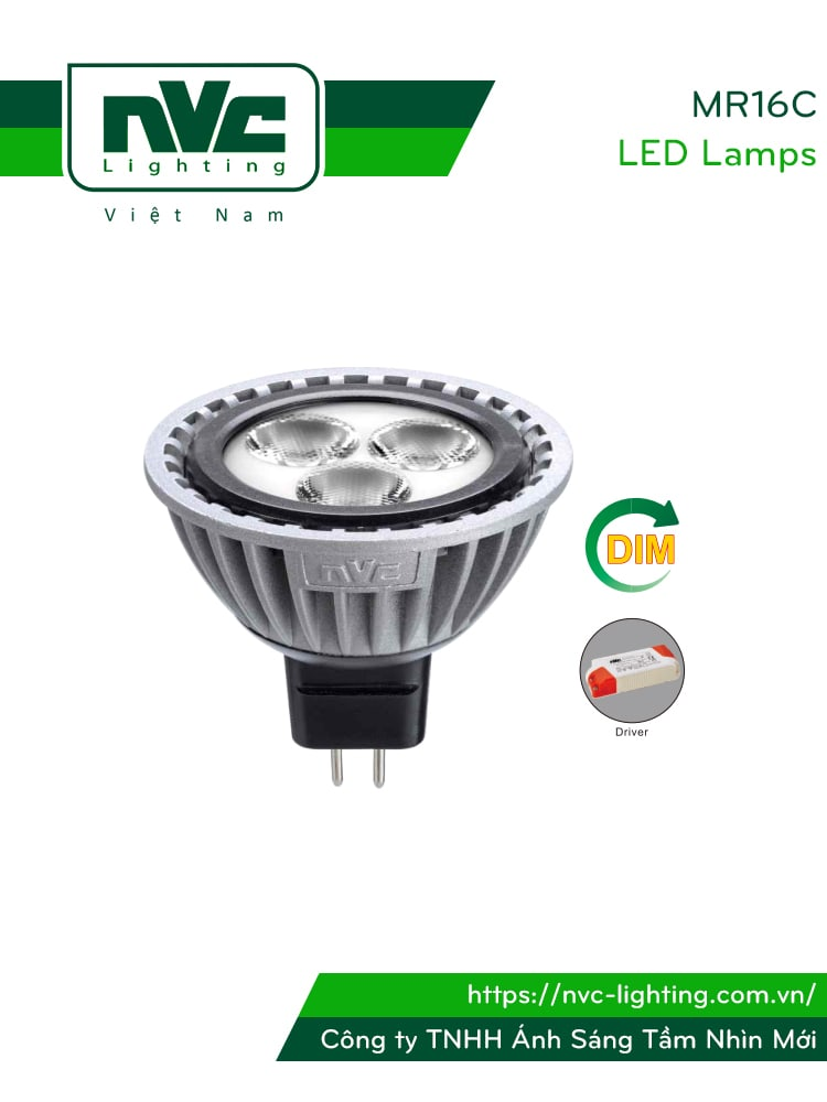 MR16C 6W, MR16C-DIM 6W - Bóng nón LED/Bóng chén LED chân cắm G5.3 12V, thân nhôm đúc anodized cao cấp, mắt vân chống chói, góc chiếu 25°