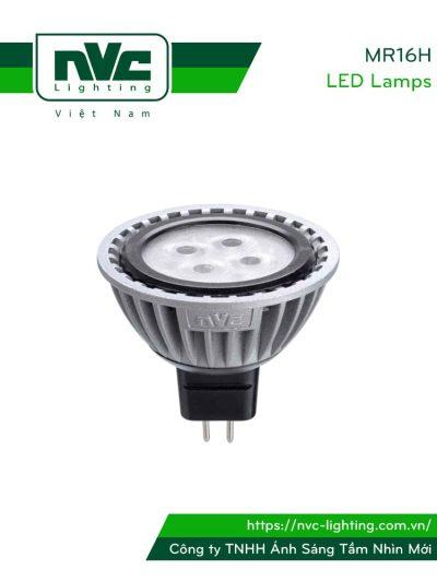 MR16H 5W - Bóng nón LED/Bóng chén LED chân cắm G5.3 12V, thân nhôm đúc anodized cao cấp, mắt vân chống chói, góc chiếu 25°