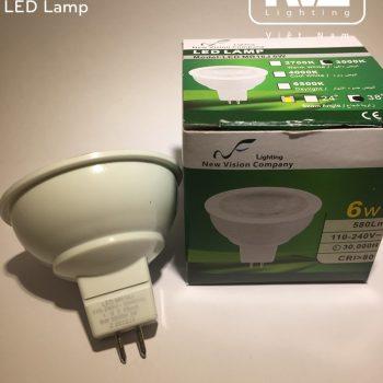 MR16J 6W - Bóng nón LED/Bóng chén LED chân cắm 220V vỏ polycarbonate, tản nhiệt nhôm đúc trong thân bóng, mắt vân chống chói