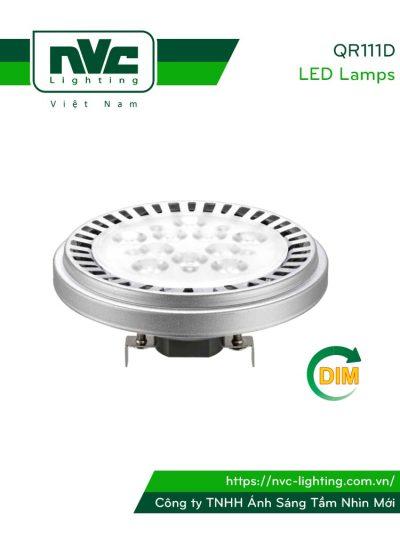 QR111D 15W, QR111D-DIM 12W - Bóng đèn LED AR111 thân nhôm đúc nguyên khối phủ sơn tĩnh điện chống ăn mòn, mắt vân chống chói