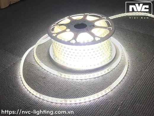 H5050/60P 9W/m - Đèn LED dây 220V mặt trắng, nhựa chống cháy, 60 mắt/m, IP65, cuộn 50m