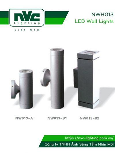 NWH013 - Đèn LED gắn tường chiếu sáng 2 đầu tròn hoặc vuông IP55, thân hợp kim nhôm đúc phủ sơn tĩnh điện chống ăn mòn, mặt kính chống ẩm gắn silicon kín nước, ốc vít inox 304 chống han gỉ