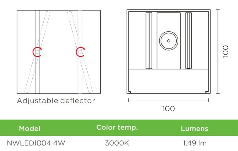 NWLED1004 - Đèn LED gắn tường 4W cho nhà riêng, không gian chung nhà hàng, trung tâm triển lãm; thân nhôm đúc phủ sơn tĩnh điện trắng hoặc đen, có thể điều chỉnh góc chiếu