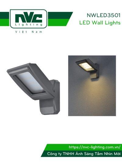 Đèn LED gắn tường NWLED3501 12W IP54 ứng dụng chiếu sáng hành lang, thân nhôm đúc nguyên khối, lens kính cường lực mờ chống chói