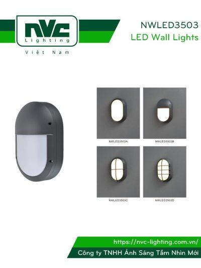 NWLED3503 - Đèn LED gắn tường 9W nhiều kiểu dáng, chiếu hành lang, ban công, thân nhôm đúc nguyên khối hình oval, IP54