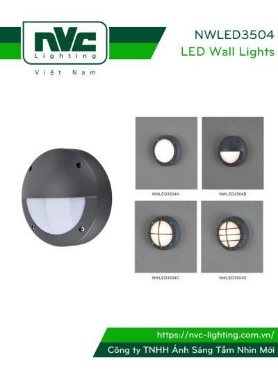NWLED3504 - Đèn LED gắn tường 3W nhiều kiểu dáng, chiếu hành lang, ban công, thân nhôm đúc nguyên khối, IP54