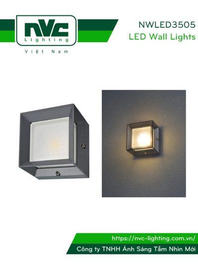 NWLED3505 - Đèn LED gắn tường COB 3W chiếu hành lang, thân nhôm đúc nguyên khối, lens kính cường lực IP55