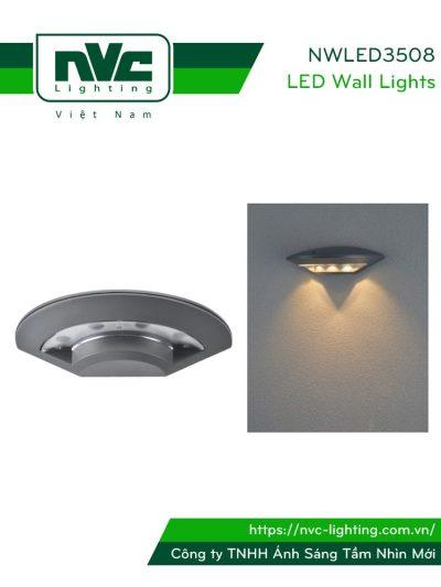 NWLED3508 - Đèn LED gắn tường 5W dạng đĩa bay, chiếu hành lang, ban công, thân nhôm đúc nguyên khối, kính cường lực IP54