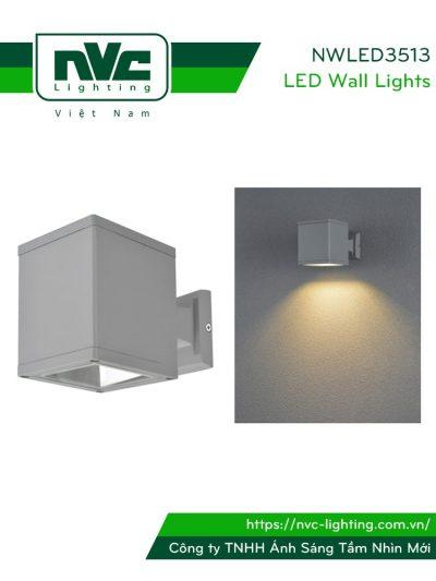 NWLED3513 - Đèn LED gắn tường surface wall light COB 3W-6W 90° chiếu 1 đầu, dùng hành lang, ban công, thân nhôm đúc, kính cường lực trong IP54