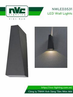 NWLED3531 - Đèn LED gắn tường 7W chiếu 2 đầu, dùng hành lang, ban công, thân nhôm đúc, kính cường lực trong IP54
