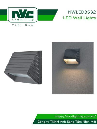 NWLED3532 - Đèn LED gắn tường COB 3W 60°chiếu hành lang, ban công, thân nhôm đúc nguyên khối, kính cường lực IP54