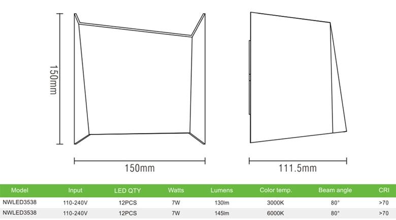 NWLED3538 - Đèn LED surface wall light gắn tường 7W IP54 80° chiếu 2 đầu kiểu Opal, dùng hành lang, ban công, thân nhôm đúc, kính cường lực trong