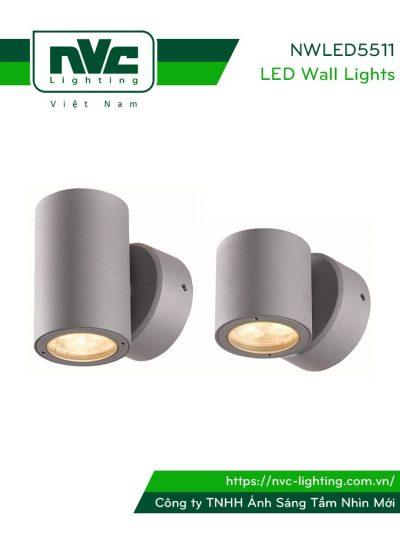 NWLED5511 - Đèn LED gắn tường surface wall light 4W & 7.5W 25° IP54 chiếu 1 đầu & 2 đầu, chip CREE, dùng hành lang, ban công, thân nhôm đúc, kính cường lực trong