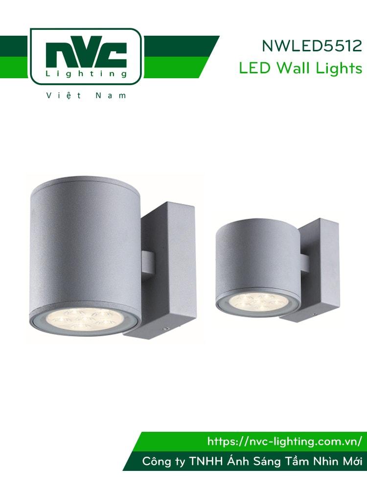 NWLED5512 7.5W 14.5W - Đèn LED gắn tường surface wall light IP54 25° mặt tròn, chiếu 1 đầu hoặc 2 đầu, chip Cree, thân nhôm đúc, kính cường lực trong