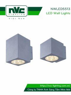 NWLED5513 7.5W 14.5W - Đèn LED gắn tường surface wall light IP54 25° mặt vuông, chiếu 1 đầu & 2 đầu, chip Cree, thân nhôm đúc, kính cường lực trong