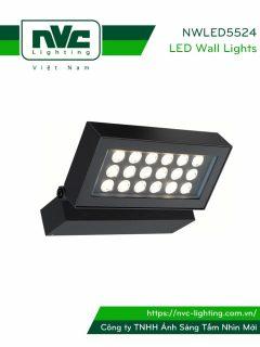 NWLED5524 36W - Đèn LED surface wall light gắn tường 30° IP54 chiếu sáng cổng ra vào, chip Cree, thân nhôm đúc, mắt vân chống chói, kính cường lực trong