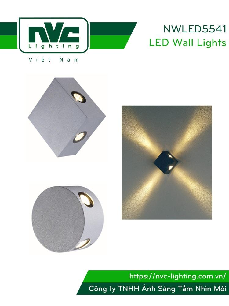 NWLED5541 - Đèn LED gắn tường surface wall light 5.5W chiếu sáng 4 góc, chip CREE, thân nhôm đúc, kính cường lực trong xuyên sáng tốt, IP54