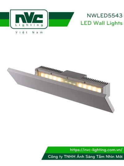 NWLED5543 - Đèn LED gắn tường surface wall light 21W chiếu hắt gián tiếp, chip CREE, thân nhôm đúc, kính cường lực mờ, IP54