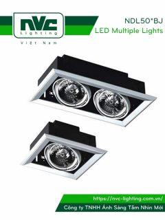 NDL501BJ NDL502BJ - Đèn multiple downlight âm trần 2 vành chỉnh hướng, tương thích bóng rời AR111 halogen hoặc LED, vành nhôm đúc, sơn tĩnh điện chống oxy hóa