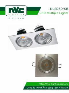 NLED501SB NLED502SB - Đèn LED multiple downlight âm trần COB, mặt nhôm phay, tản nhiệt hợp kim nhôm cao cấp, chấn lưu rời