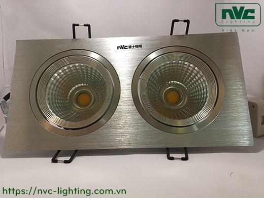 NLED502SB - Đèn LED multiple downlight âm trần đôi COB, mặt nhôm phay, tản nhiệt hợp kim nhôm cao cấp, chấn lưu rời